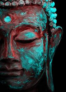 Buddha Neon Psychedelic Colours Cool Spiritual Peaceful