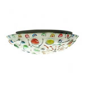 whimsical contemporary multi color glass bowl shade flush