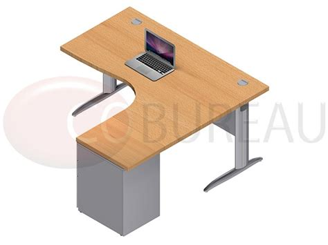 bureau en l bureau compact 160 cm pro métal avec caisson métallique