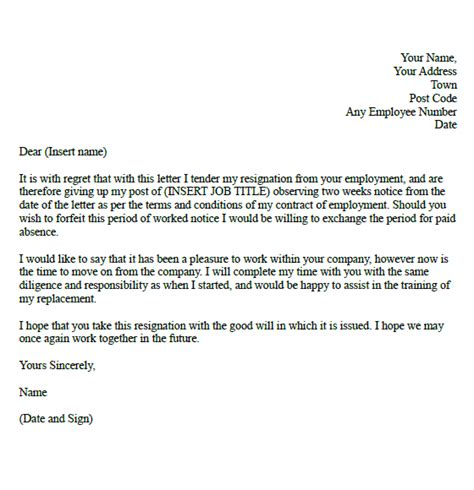 Formal Format Of Resignation Letter by Two Week Resignation Letter Sles Formal Resignation