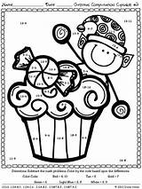 Math Christmas Multiplication Computation Code Puzzles Cupcakes Worksheets Activities Subtraction Answer Facts Kindergarten Coloring Cupcake Maths Winter Addition Fun Includes sketch template