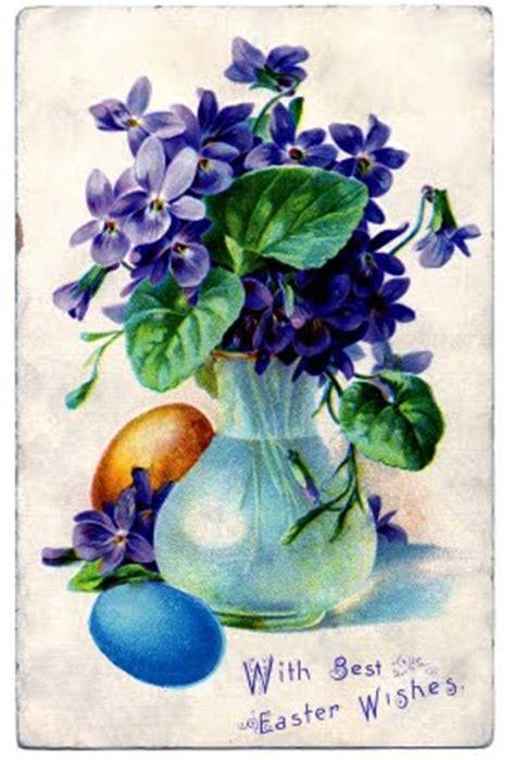 vintage easter clip art violets girl  eggs