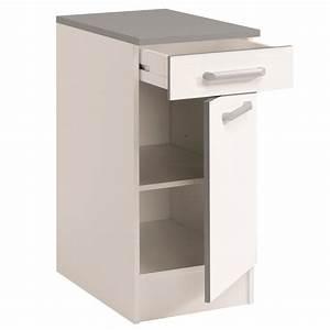 Meuble Bas Porte : meuble bas de cuisine contemporain 40 cm 1 porte 1 tiroir ~ Edinachiropracticcenter.com Idées de Décoration