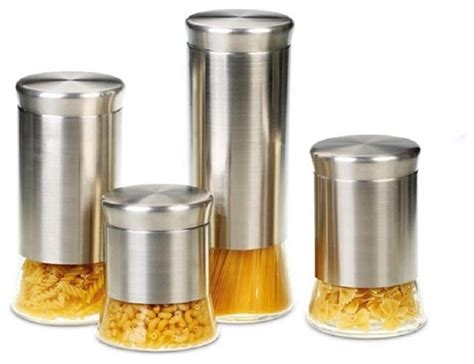 kitchen canisters and jars flairs stainless steel 4 canister set contemporary