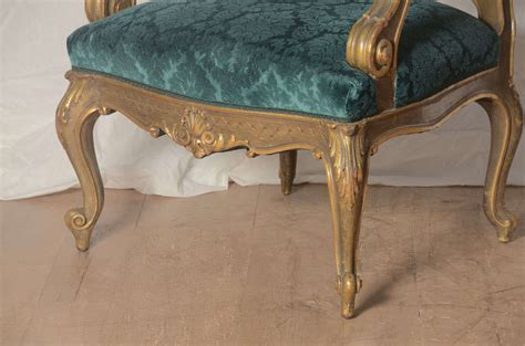 19th Century Italian Baroque Armchair In Peacock Blue For