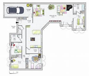 plan maison plain pied 4 chambres en u With plan maison en u ouvert 4 plan maison 3d 100m2