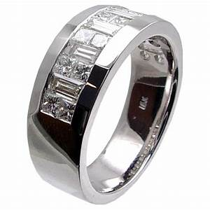 Invisible set princess cut baguette diamond mens wedding for Mens wedding rings baguette diamonds