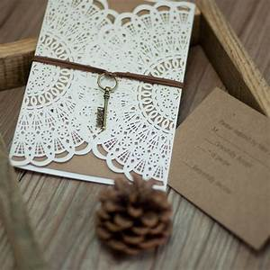 rustic floral laser cut pocket wrap invitations With laser cut floral wrap wedding invitations