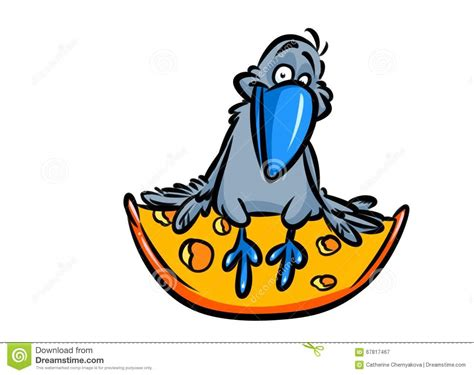 Crow And Cheese Fable Cartoon Illustration Stock