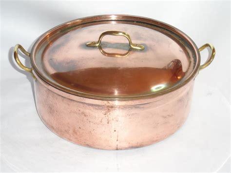 vintage tagus copper pot  lid dutch oven brass handles   portugal copper pots