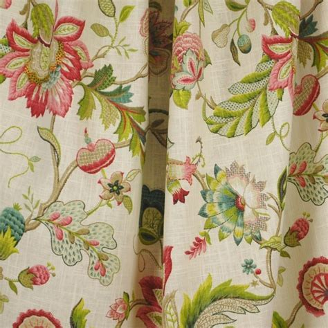 Jacobean Floral Curtain Fabric by Brissac Jacobean Floral Kaufman Fabric Traditional