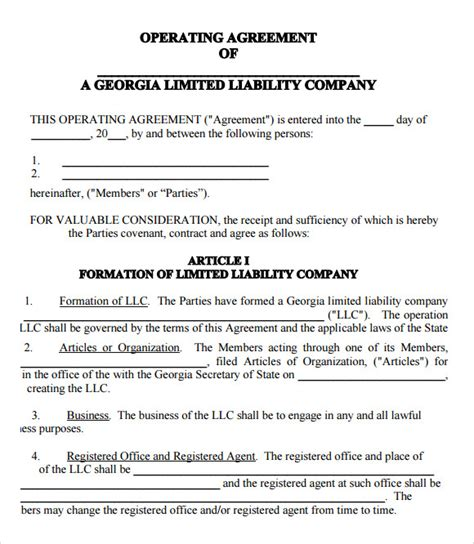 sample llc operating agreement templates