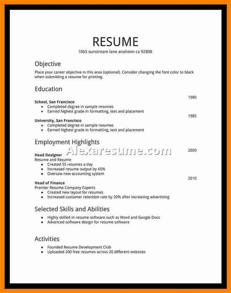 Sle Professional Resume Templates by 22453 College Student Resume Template Best 20 Sle Resume