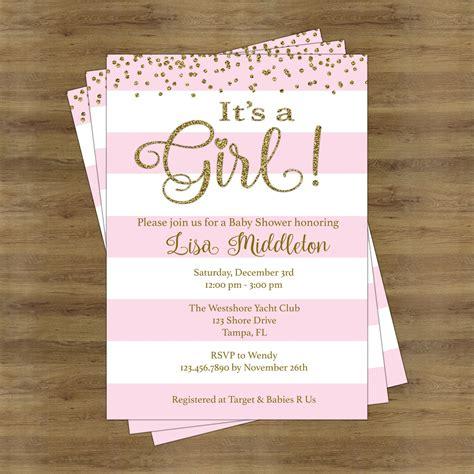 pink  gold baby shower invites   girl baby shower