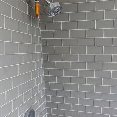 grey tiles white grout gray subway tile shower design ideas