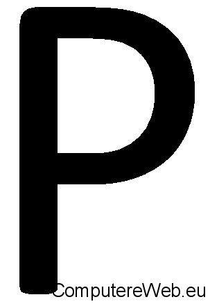 scarica contrassegno lettera p per guida macchina con foglio rosa computer e web