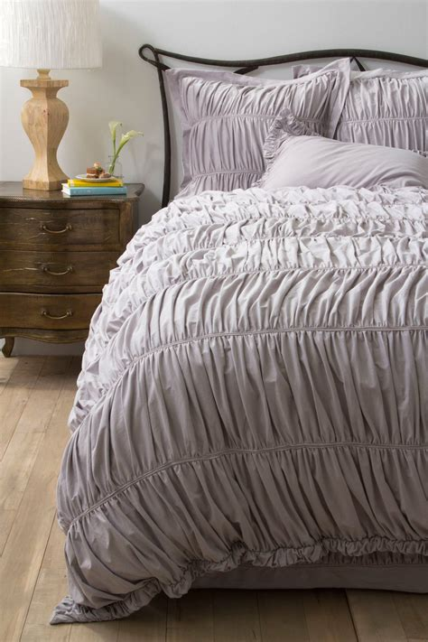 anthropologie comforter set look for less alert gray ruched comforter limestone
