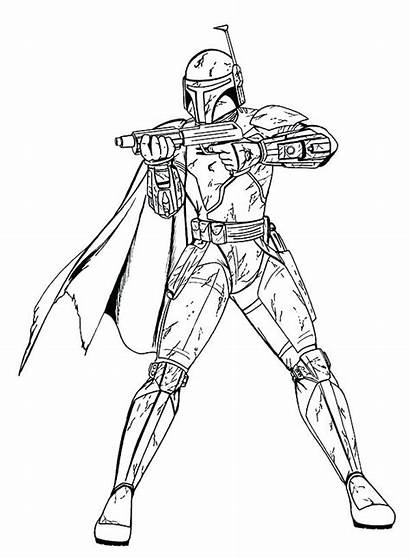Wars Coloring Star Pages Fett Boba Bounty