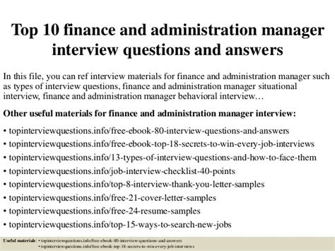 questions and answers on administration top 10 finance and administration manager