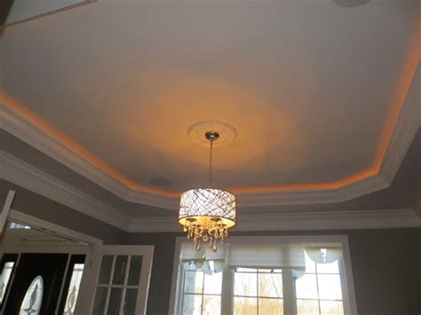 tray ceiling with lighting chandelier home