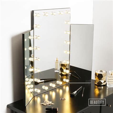 table top lighted vanity mirror beautify led light table top tri 3 way fold folding