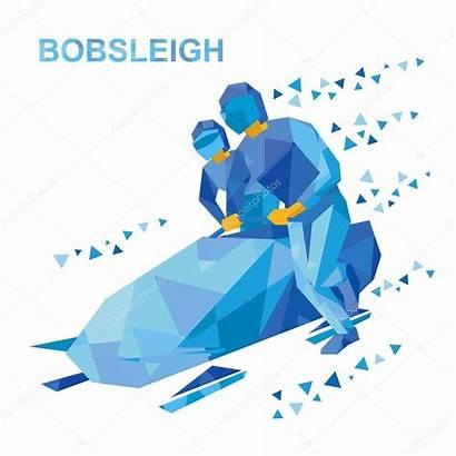 Bobsleigh Cartoon Athletes Winter Sports Bob Bobsled