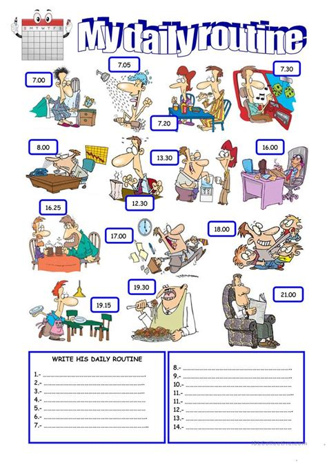 daily routine worksheet  esl printable worksheets
