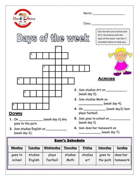 days of the week worksheet for kiddo shelter