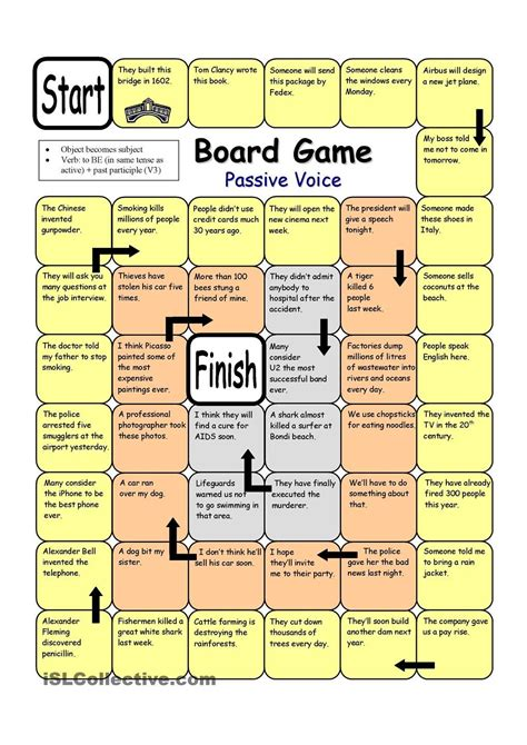 board game passive voice  images esl board games