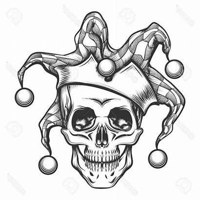 Skull Joker Drawing Drawings Tattoo Jester Hand