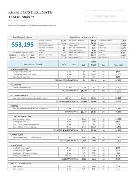 rehab repair cost estimator house flipping spreadsheet