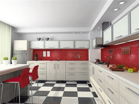 snappy red kitchen classic  load contemporary