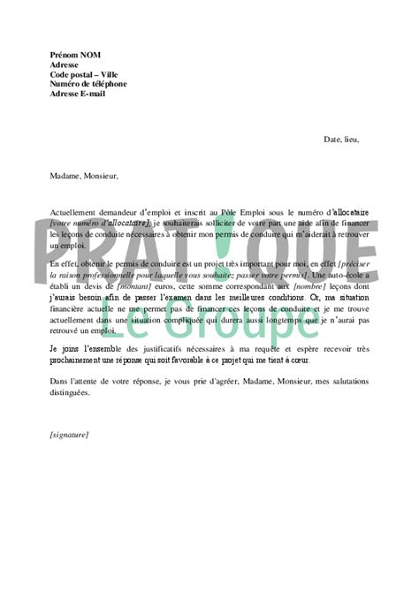 formation pole emploi cuisine lettre de demande de financement du permis de conduire au