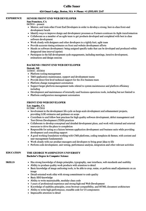 Front End Web Developer Resume by Front End Web Developer Resume Sles Velvet