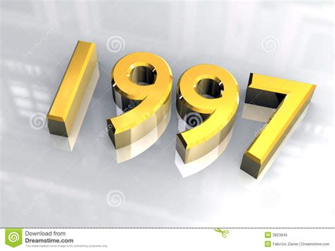 day freeze new year 1997 in gold 3d royalty free stock photo