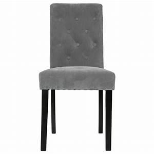 Chaise Velours Gris : lot de 2 chaises cleva velours gris ~ Teatrodelosmanantiales.com Idées de Décoration