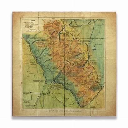 National Park Glacier Map Historic Wood Signs