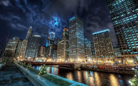 Chicago City Night Lights Wallpaper  1280x800 Resolution