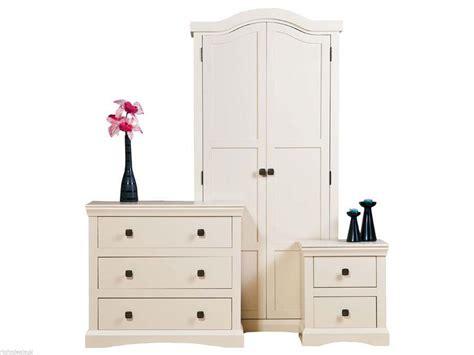 3 Piece Bedroom Set Cream Painted Wood Shabby Chic
