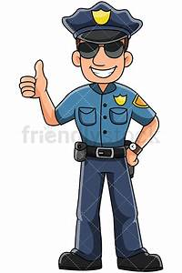 Male Police Officer Thumbs Up Vector Cartoon Clipart
