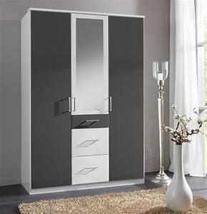 Armoire 3 portes dont 1 miroir 3 tiroirs click blanc for Robe de chambre enfant avec la redoute matelas memoire de forme