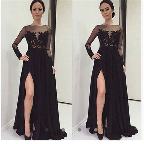 Real Sexy Long Sleeves Black Lace Prom Dresses,Front Split ...