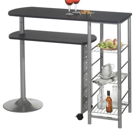 table de bar pour cuisine table haute de bar josua mdf décor noir achat vente
