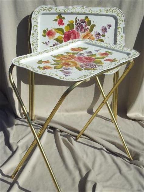 vintage tin tray tv tables retro  metal folding tables