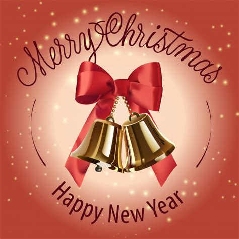 Happy new year christmas with elements decoration. Merry christmas, happy new year lettering with bells ...
