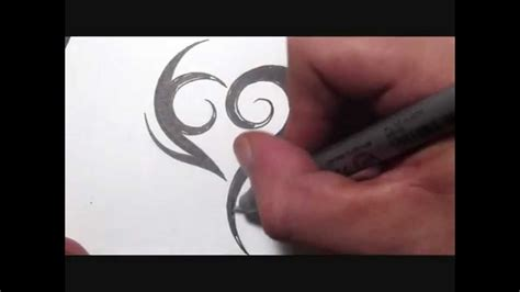 drawing  simple spiky tribal heart tattoo design youtube