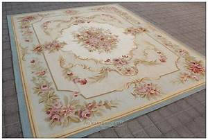BLUE IVORY w PINK ROSE Aubusson Area Rug FREE SHIP Wool ...