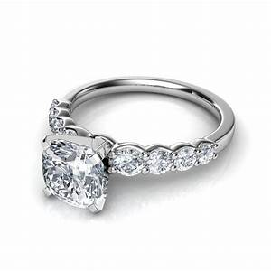 Graduated side stone cushion cut diamond engagement ring for Diamond wedding ring images