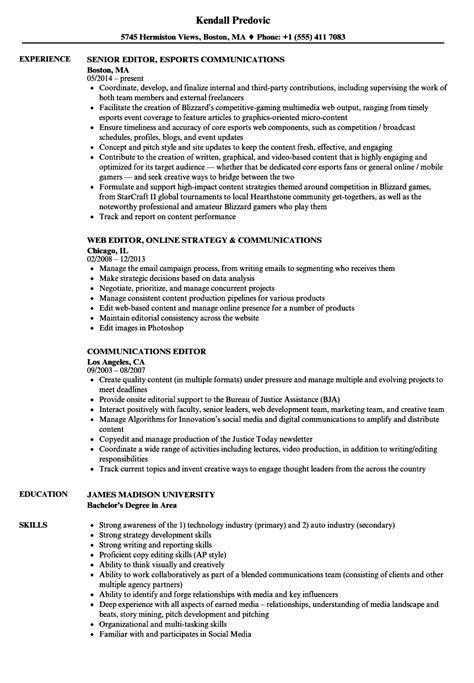 Edit Resume by Communications Editor Resume Sles Velvet