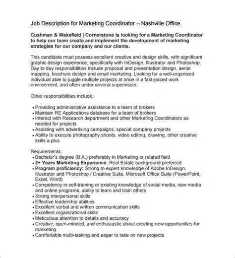 marketing assistant description marketing coordinator